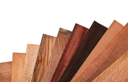 carpentery: collection of different wood on white background