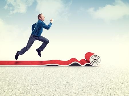 3d man: running man on 3d red carpet Stock Photo