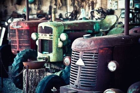 detail of vintage rusty tractors photo