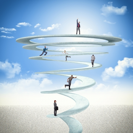 business people on 3d abstract spiral