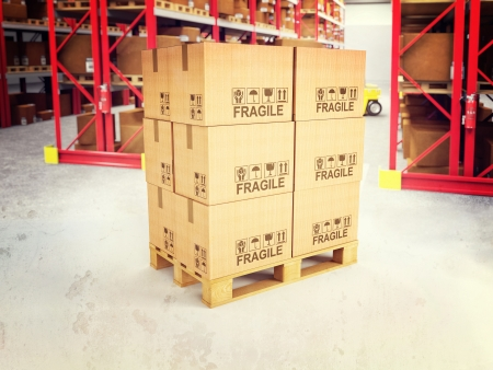 white goods: 3d image of pallets with classic boxes in warehouse