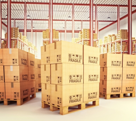 boxboard: 3d image of pallets with classic boxes in warehouse