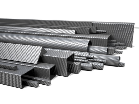 3d carbon: 3d image of carbon fiber pipes on white