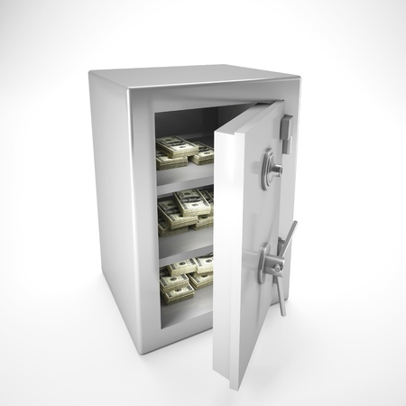 3d image of classic steel safe and money inside photo