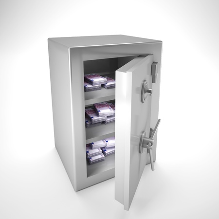 safer: 3d image of classic steel safe and money inside Stock Photo