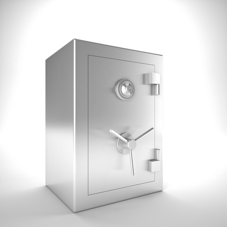 safer: 3d image of classic steel safe Stock Photo
