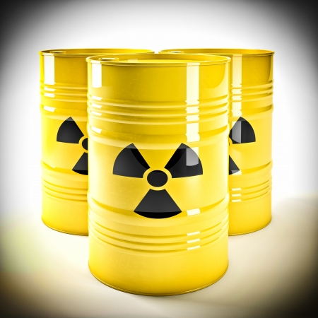 radioactive: 3d image of yellow radioactive barell Stock Photo