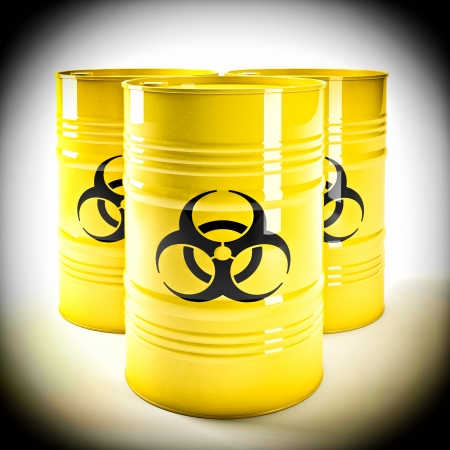 danger symbol: 3d image of yellow biohazard barell