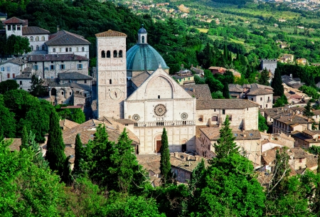 oldtown: view of medieval assisi town in italy