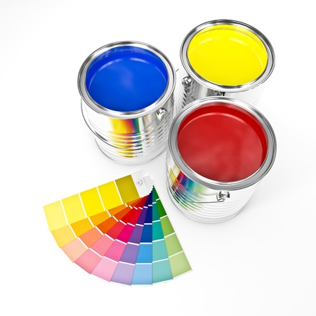 swatches: 3d image of metallic can paint and swatches