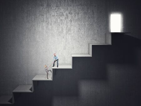 woman stairs: woman and man try to climb huge 3d stair Stock Photo