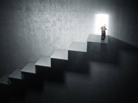 himself: man balance himself on stair top