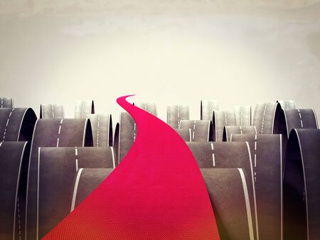 choise: 3d image of red carpet and different asphalt ways