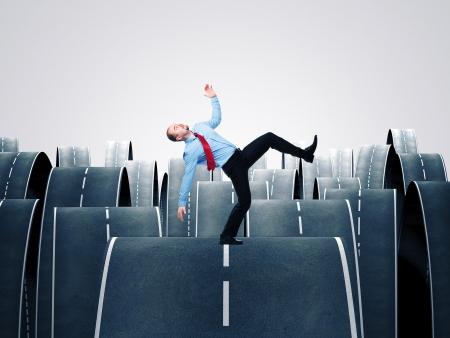 frighten: man balance himself on 3d ways Stock Photo