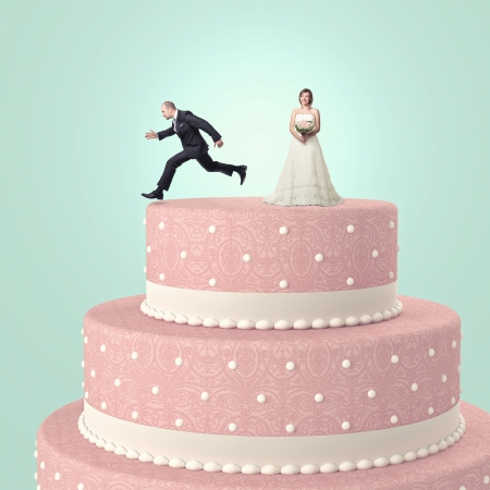 lustige Hochzeitstorte mit Braut und goom