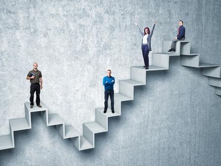 sentarse: busines gente en 3d escalera abstracta