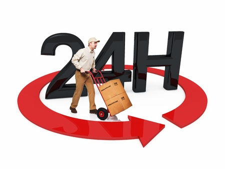 24 hours: delivery man and 3d 24h text Stock Photo