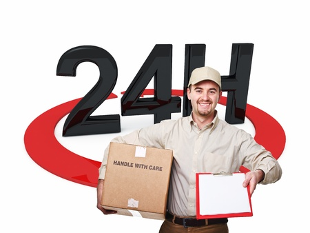 delivery man and 3d 24h text Stock Photo - 20838045
