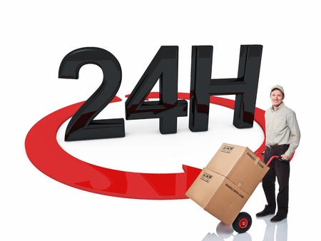 24 7: delivery man and 3d 24h text Stock Photo