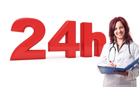 24 hours: 3d image of 24h and woman doctor Stock Photo