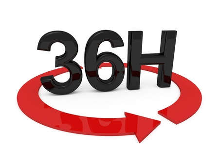 3d image of 36h on white background Stock Photo - 20880173