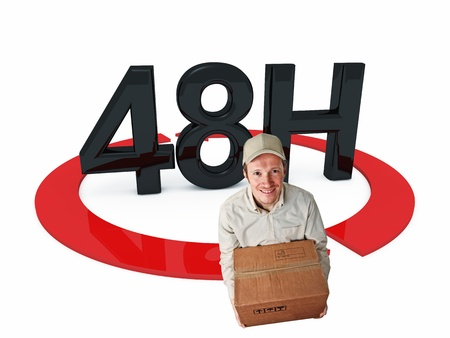 48: delivery man and 3d 48h text