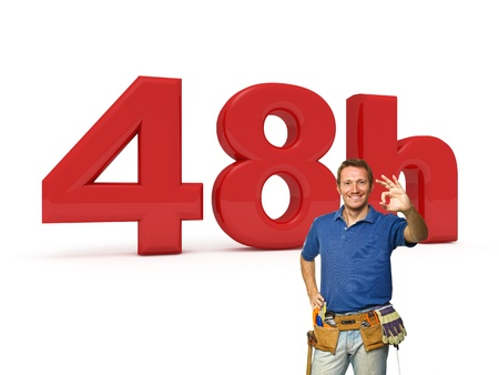 48: 3d image of 48h and smiling handyman