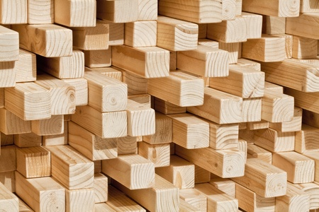 carpentery: natural wood lath in different length Stock Photo