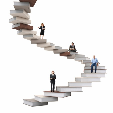 woman stairs: businesspeople on 3d abstract books stair Stock Photo