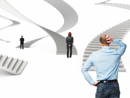 business people and 3d abstract stair photo