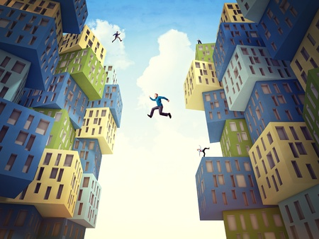business people jump over abstract building photo