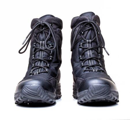 combat boots: closeup image of modern snow boots