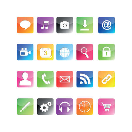 note pc: vector icon set for smartphone Stock Photo