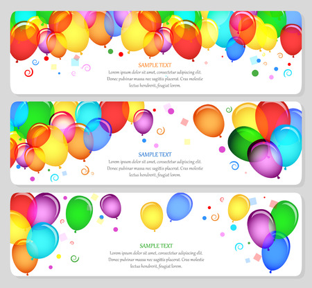 colored balloons: vector image of event banners with colorful balloons
