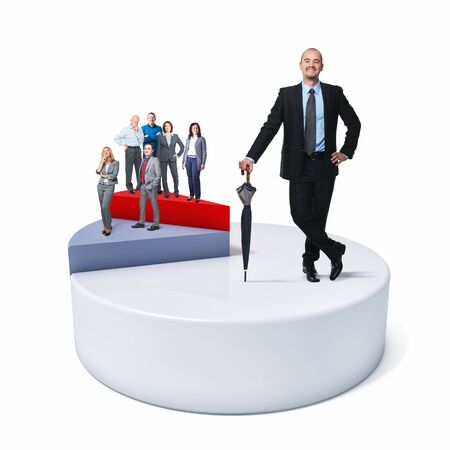 business people on 3d financial cake photo