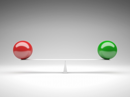 3d image of green and red ball on balance