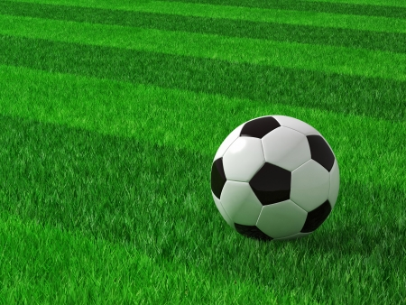 soccer ball on grass: 3d image of classic soccer field with ball