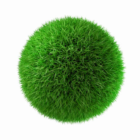 3d image of green grass ball Stock Photo