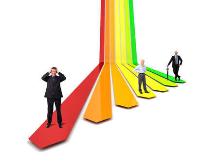 3d image: 3d image of  efficiency arrows and business people
