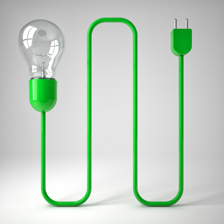 electric plug: classic electric bulb and green wire