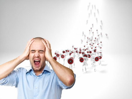 multitude: stressed man and multitude of cctv Stock Photo