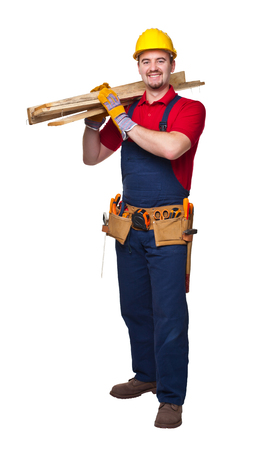 craftman: portrait of smailing  manual worker on white background