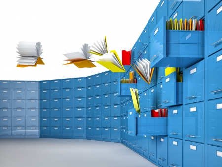 file cabinet: 3d image of flying document and file cabinet