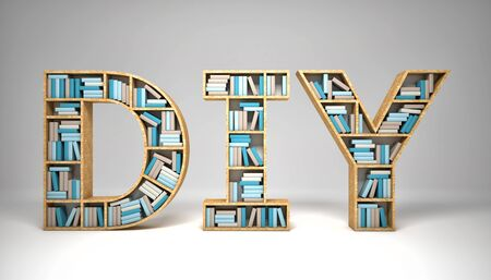 doityourself: 3d image of wood diy and books