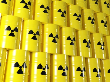 barel: background of 3d yellow barel and radioactive sign