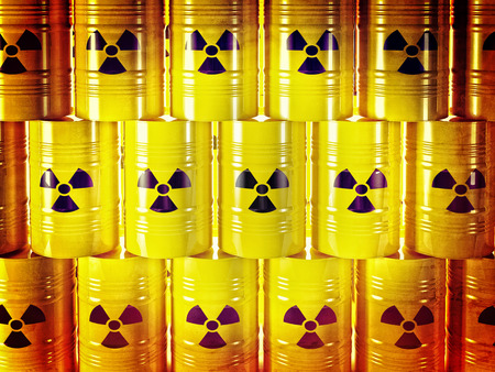 radioactive: background of 3d yellow barel and radioactive sign
