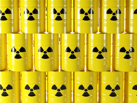 background of 3d yellow barel and radioactive sign Stock Photo - 24038459