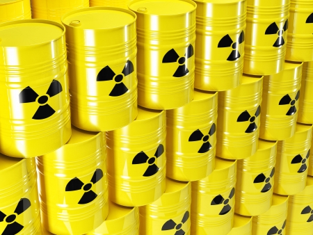background of 3d yellow barel and radioactive sign Stock Photo - 24038460