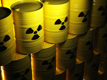 background of 3d yellow barel and radioactive sign photo