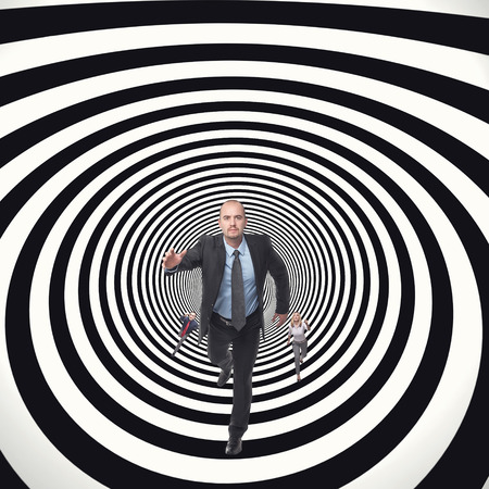 business people running in abstract tunnel photo